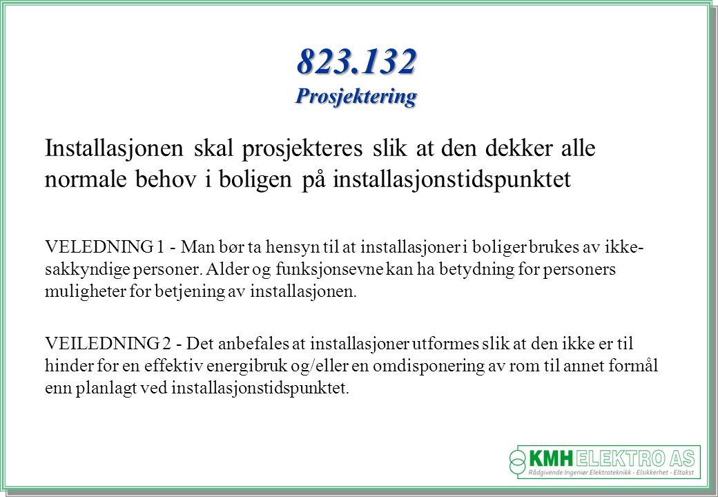 823.132 Prosjektering Installasjonen skal prosjekteres slik at den dekker alle normale behov i boligen på installasjonstidspunktet.