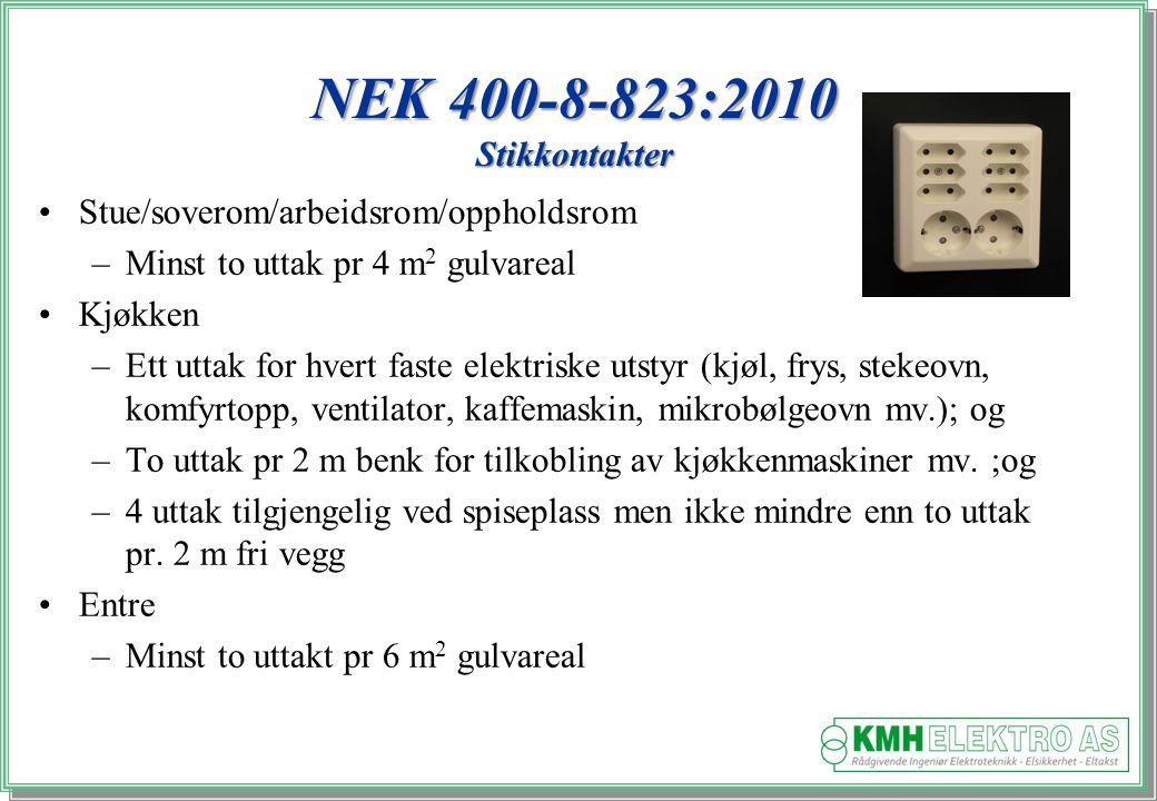 NEK 400-8-823:2010 Stikkontakter Stue/soverom/arbeidsrom/oppholdsrom