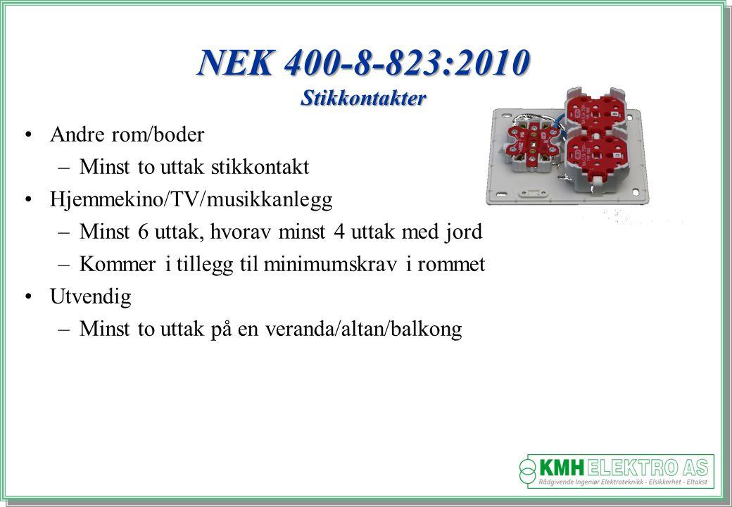 NEK 400-8-823:2010 Stikkontakter Andre rom/boder