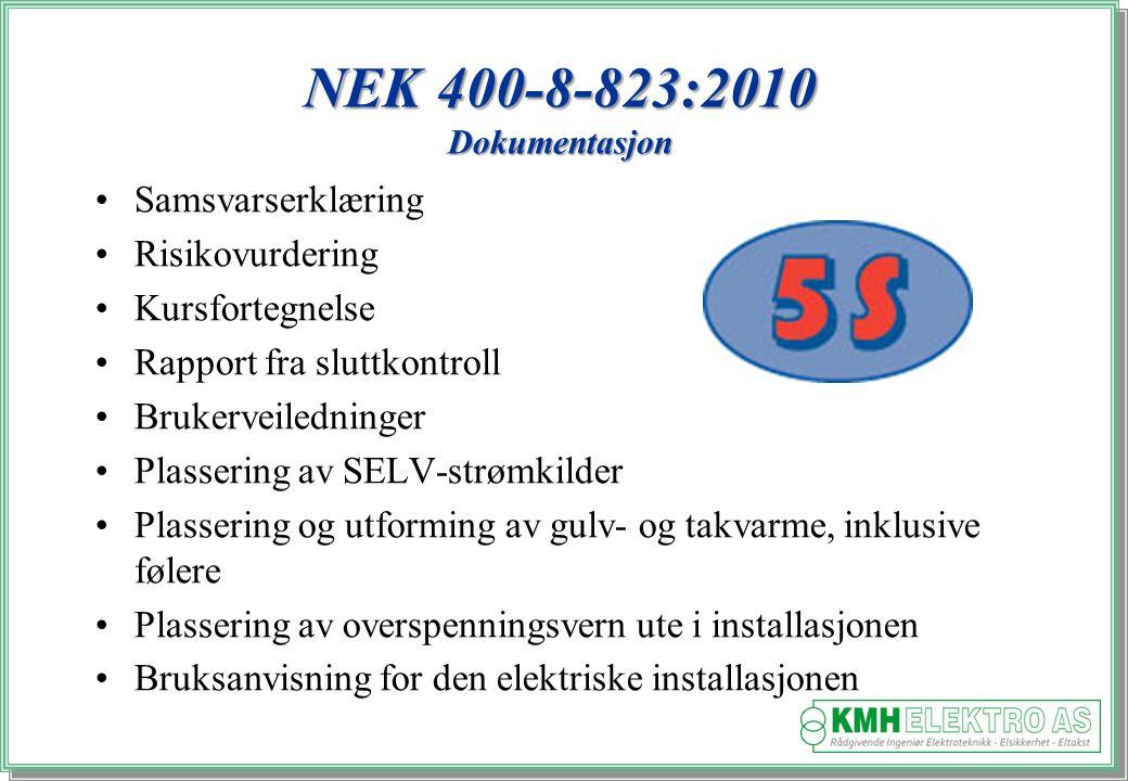 NEK 400-8-823:2010 Dokumentasjon Samsvarserklæring Risikovurdering