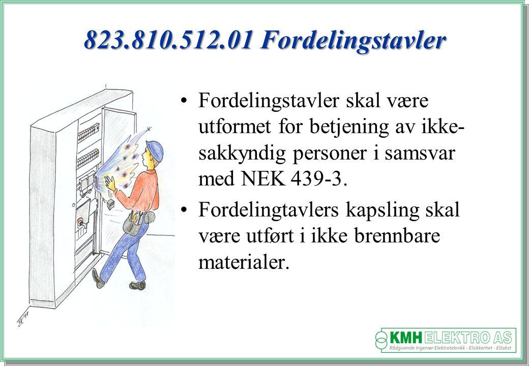 823.810.512.01 Fordelingstavler Fordelingstavler skal være utformet for betjening av ikke-sakkyndig personer i samsvar med NEK 439-3.