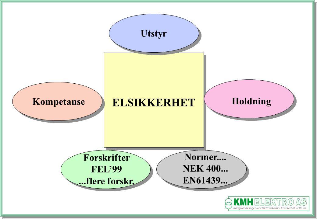 ELSIKKERHET Utstyr Kompetanse Holdning Forskrifter Normer.... FEL'99