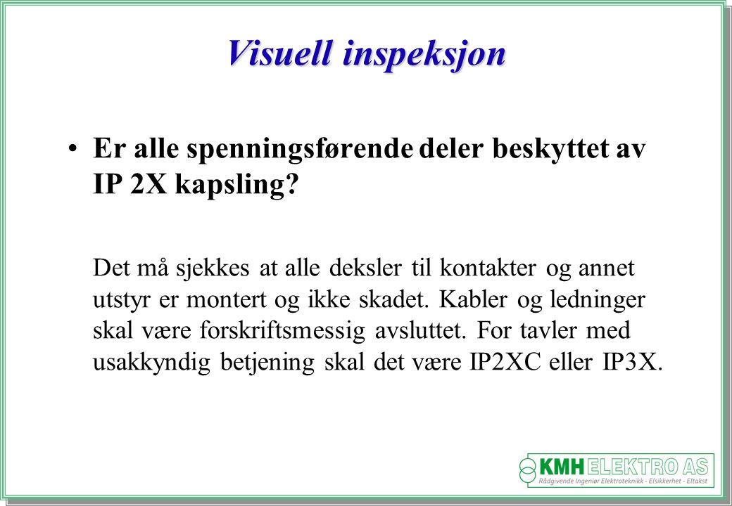 Visuell inspeksjon Er alle spenningsførende deler beskyttet av IP 2X kapsling
