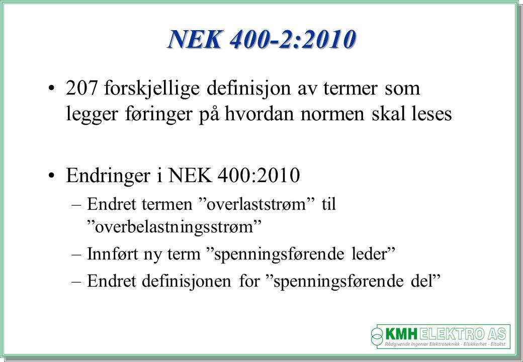 NEK 400-2:2010 207 forskjellige definisjon av termer som legger føringer på hvordan normen skal leses.