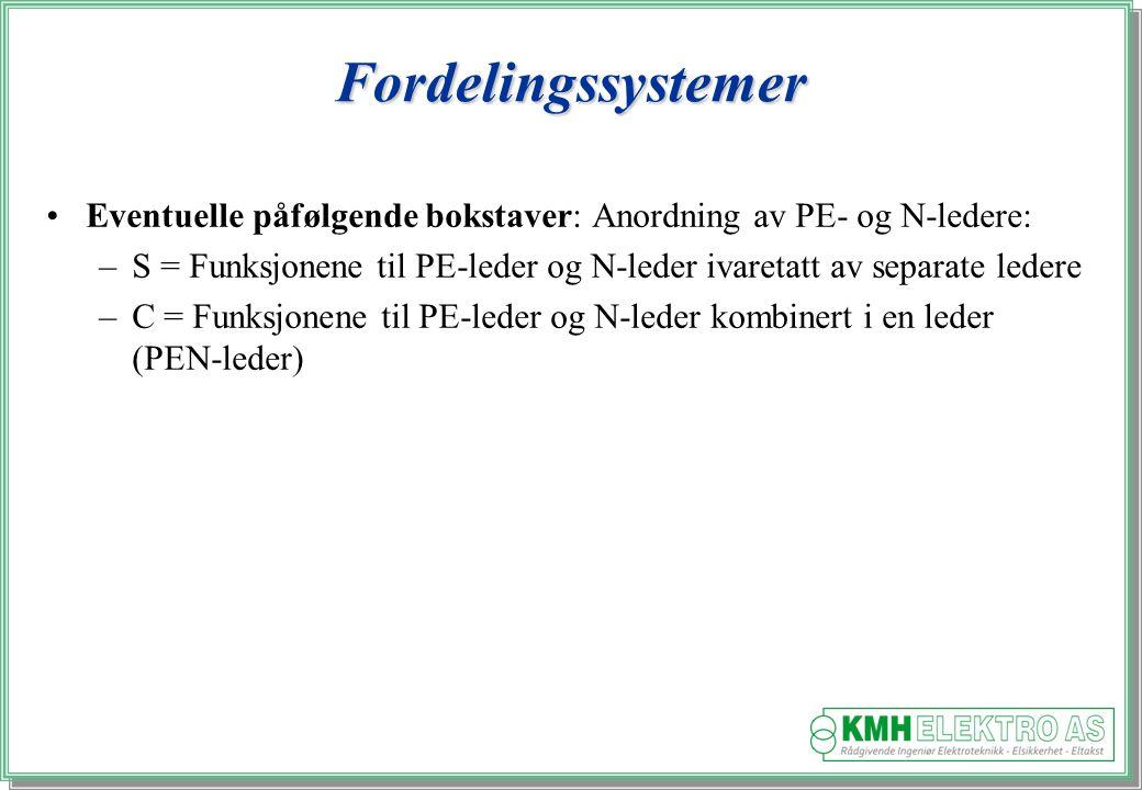 Fordelingssystemer Eventuelle påfølgende bokstaver: Anordning av PE- og N-ledere: