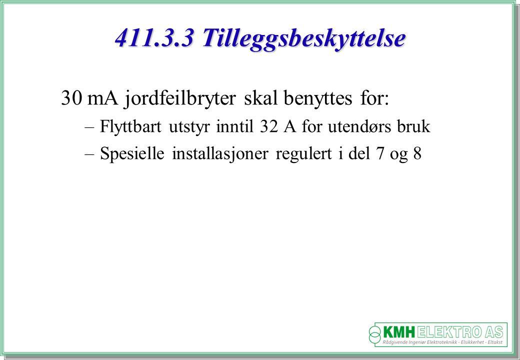 411.3.3 Tilleggsbeskyttelse 30 mA jordfeilbryter skal benyttes for: