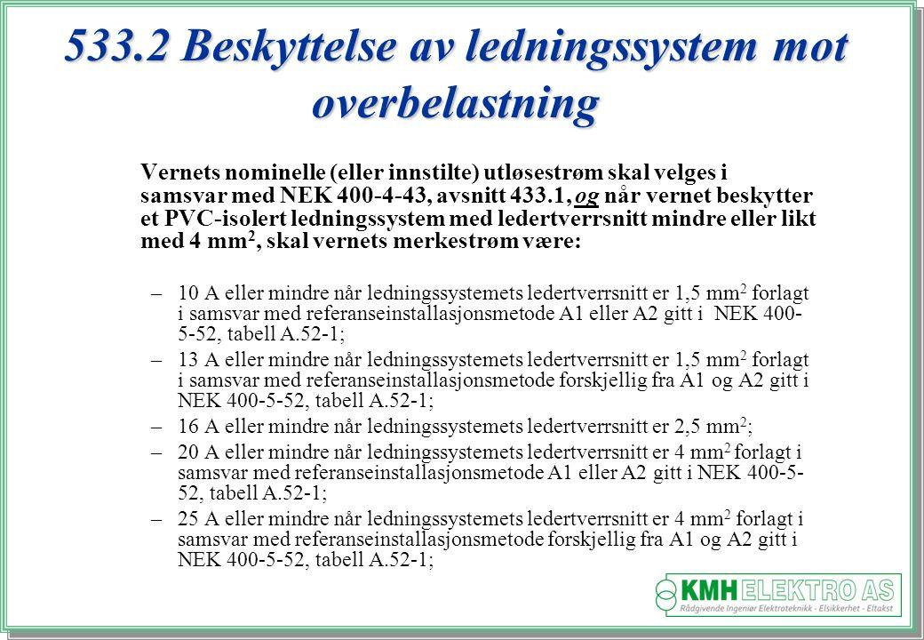 533.2 Beskyttelse av ledningssystem mot overbelastning