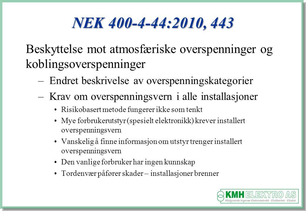 NEK 400-4-44:2010, 443 Beskyttelse mot atmosfæriske overspenninger og koblingsoverspenninger. Endret beskrivelse av overspenningskategorier.