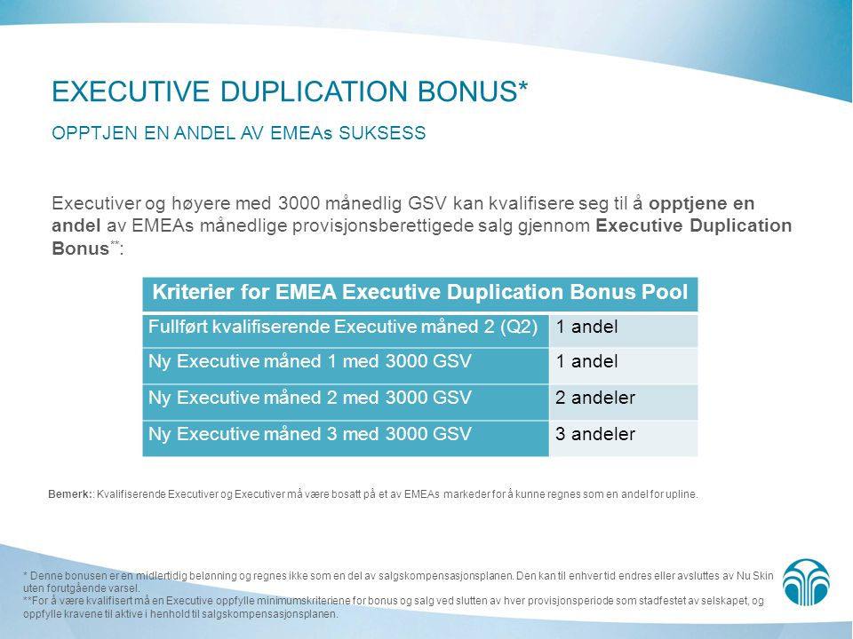 Kriterier for EMEA Executive Duplication Bonus Pool