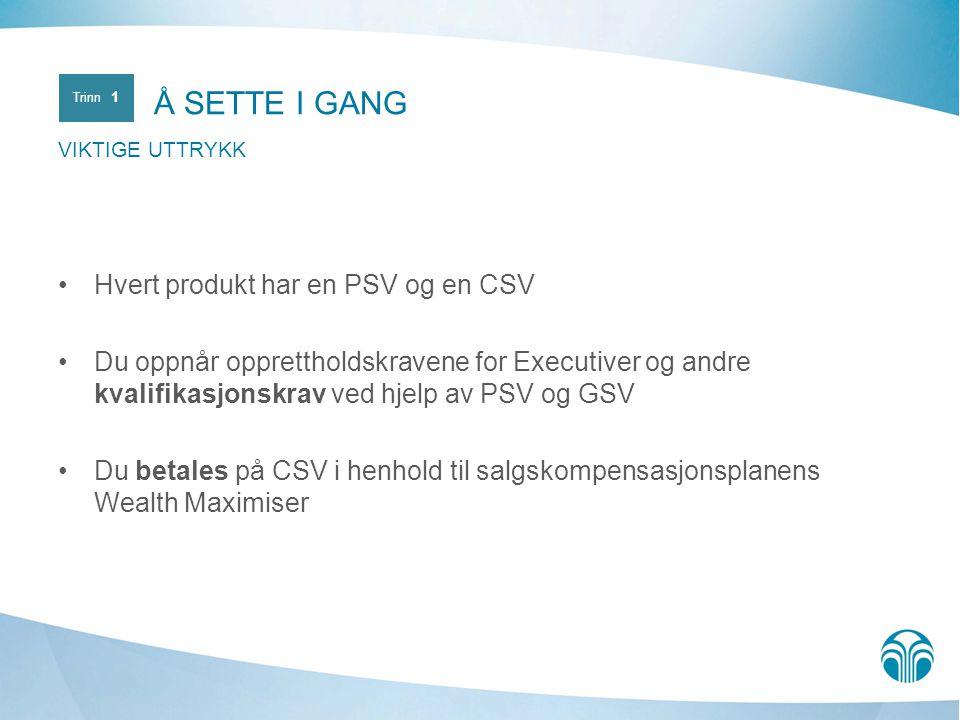 Å SETTE I GANG Hvert produkt har en PSV og en CSV
