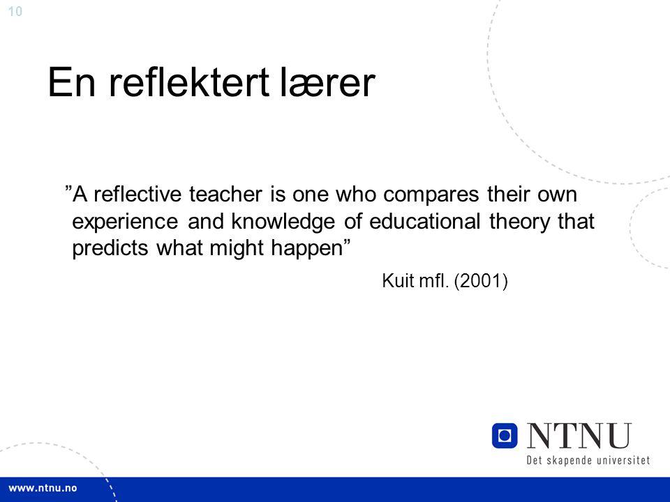 En reflektert lærer