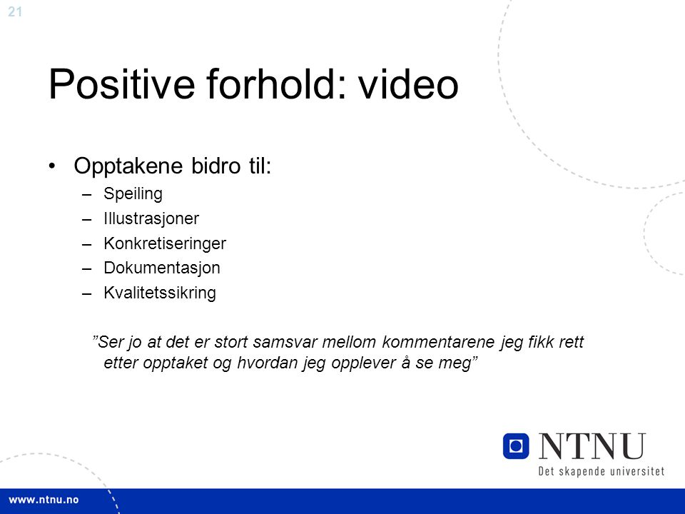 Positive forhold: video