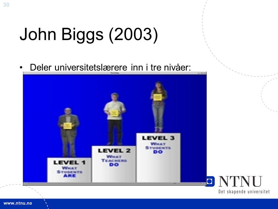 John Biggs (2003) Deler universitetslærere inn i tre nivåer: