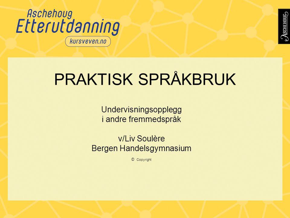 PRAKTISK SPRÅKBRUK Undervisningsopplegg i andre fremmedspråk