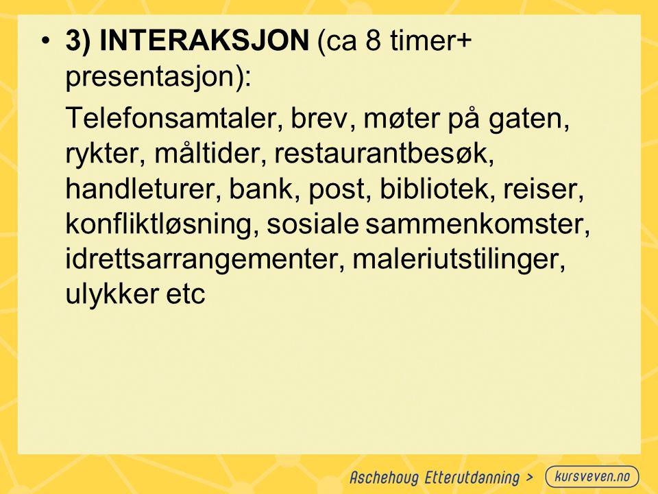 3) INTERAKSJON (ca 8 timer+ presentasjon):