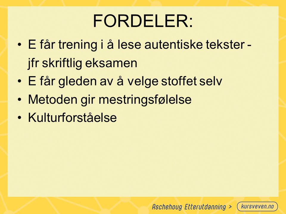 FORDELER: E får trening i å lese autentiske tekster -