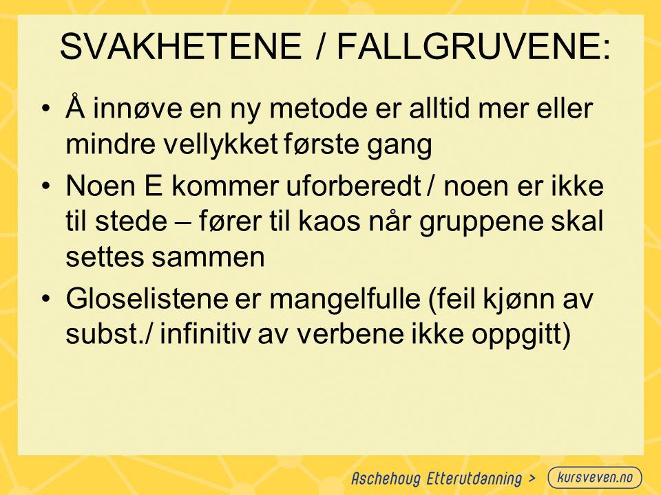SVAKHETENE / FALLGRUVENE:
