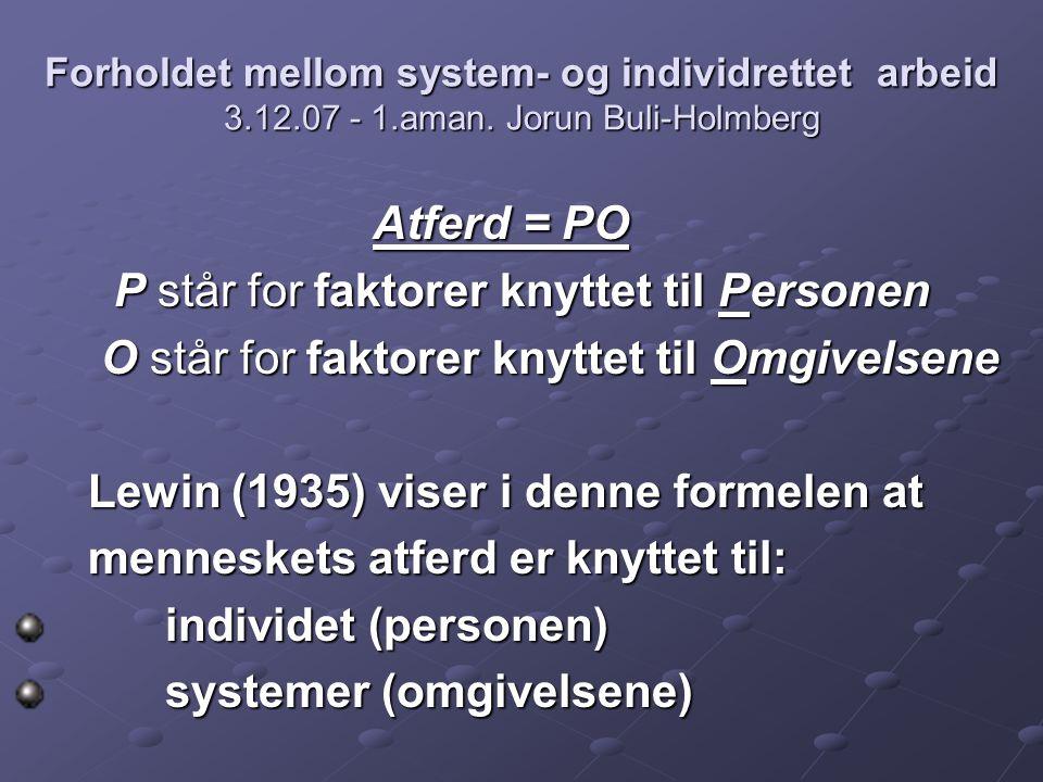 Atferd = PO P står for faktorer knyttet til Personen