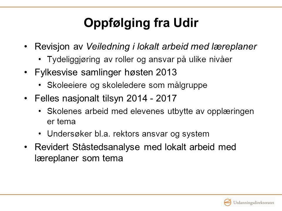 Oppfølging fra Udir Revisjon av Veiledning i lokalt arbeid med læreplaner. Tydeliggjøring av roller og ansvar på ulike nivåer.