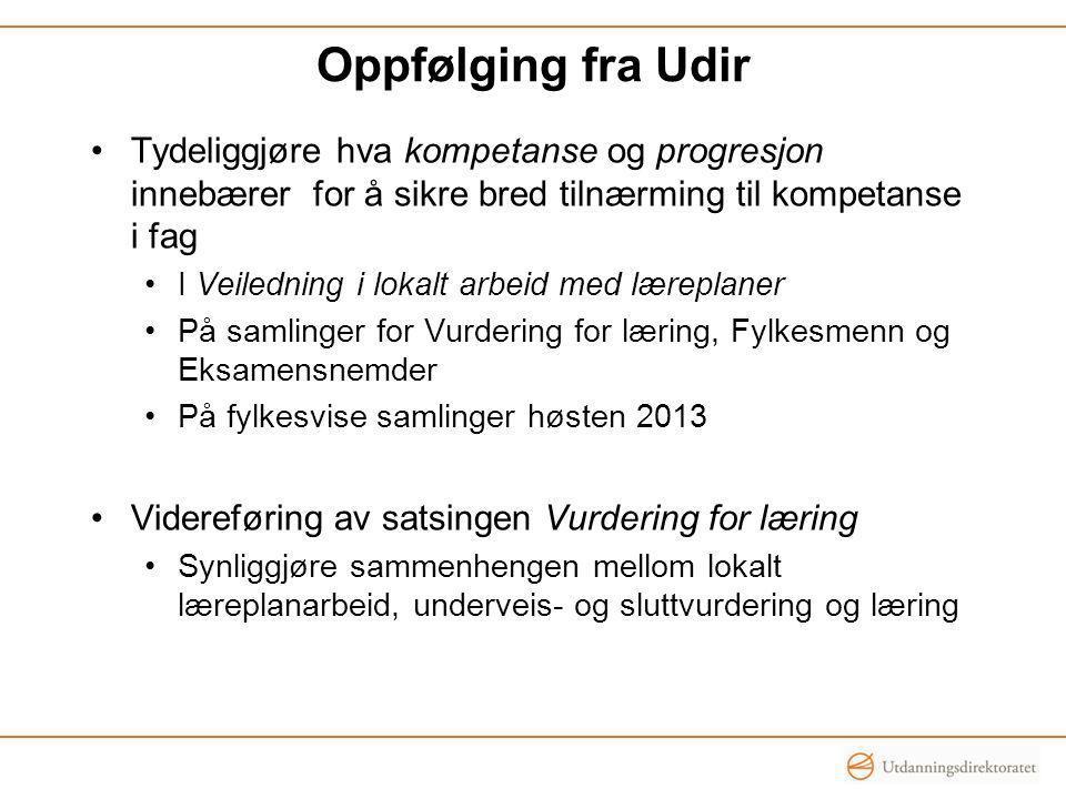 Oppfølging fra Udir Tydeliggjøre hva kompetanse og progresjon innebærer for å sikre bred tilnærming til kompetanse i fag.