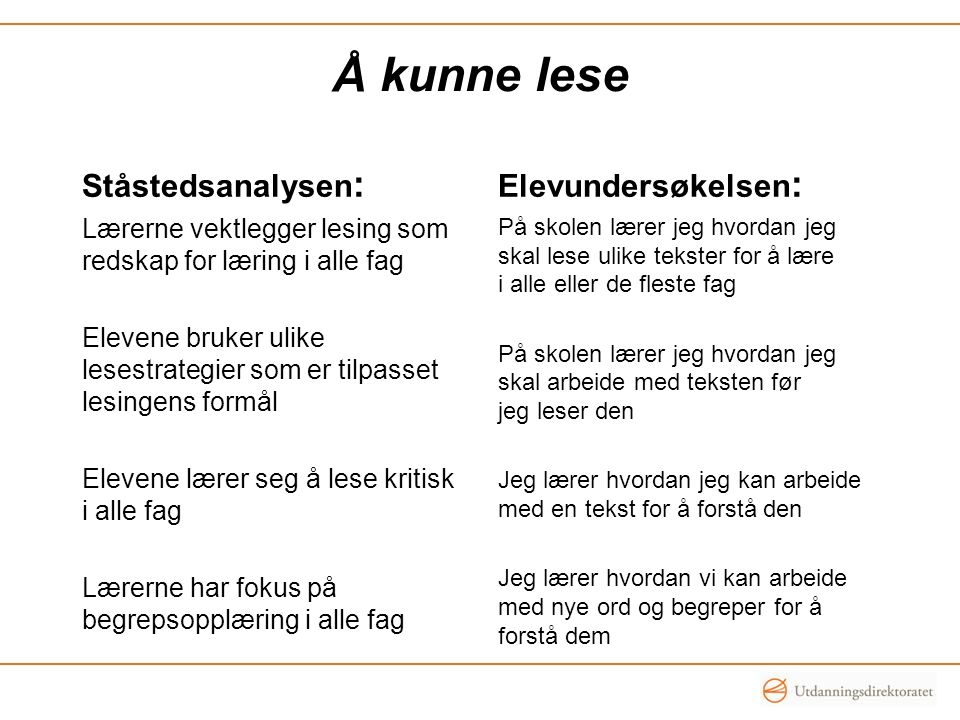 Å kunne lese Ståstedsanalysen: Elevundersøkelsen: