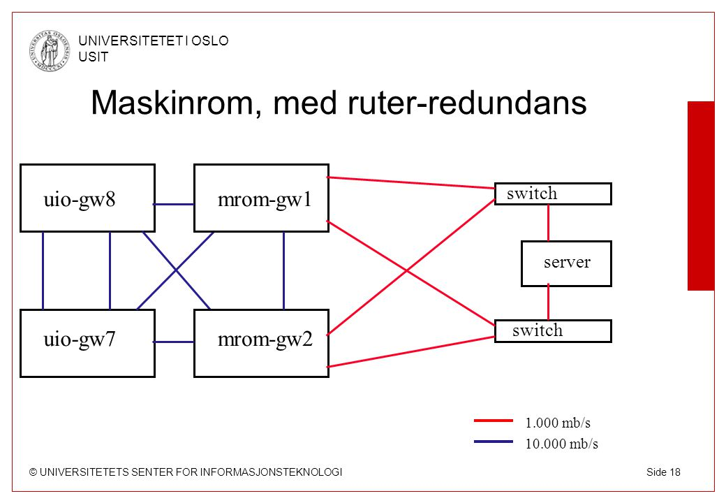 Maskinrom, med ruter-redundans