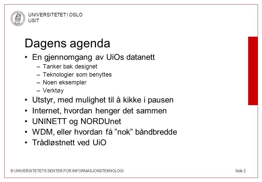 Dagens agenda En gjennomgang av UiOs datanett