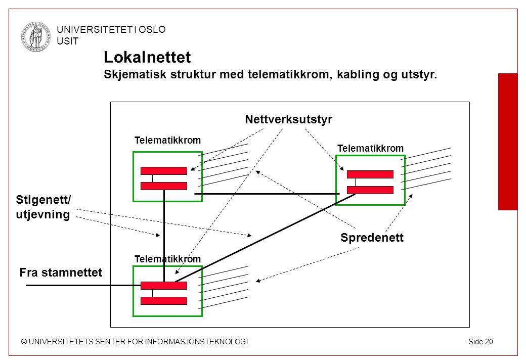 Lokalnettet Skjematisk struktur med telematikkrom, kabling og utstyr.