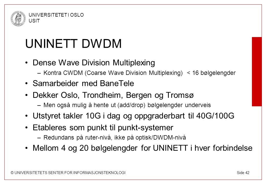 UNINETT DWDM Dense Wave Division Multiplexing Samarbeider med BaneTele