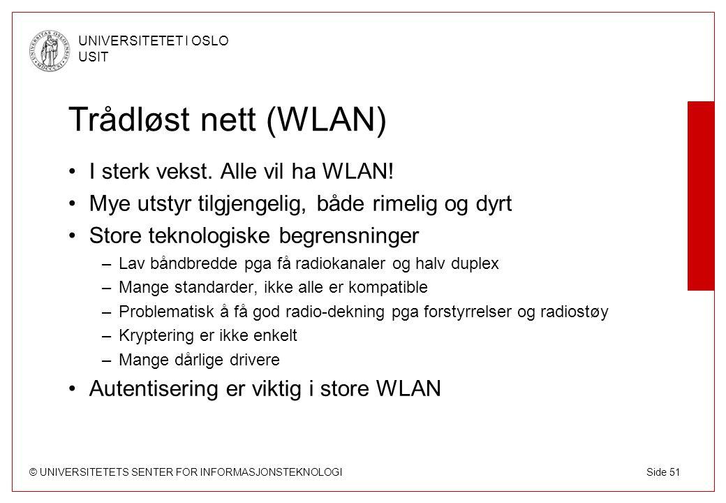 Trådløst nett (WLAN) I sterk vekst. Alle vil ha WLAN!