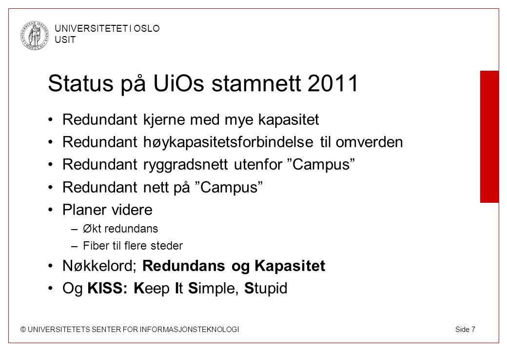 Status på UiOs stamnett 2011