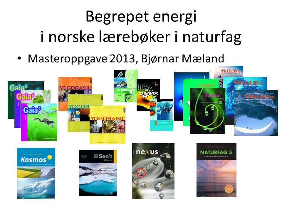 Begrepet energi i norske lærebøker i naturfag