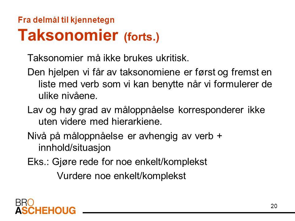 Fra delmål til kjennetegn Taksonomier (forts.)