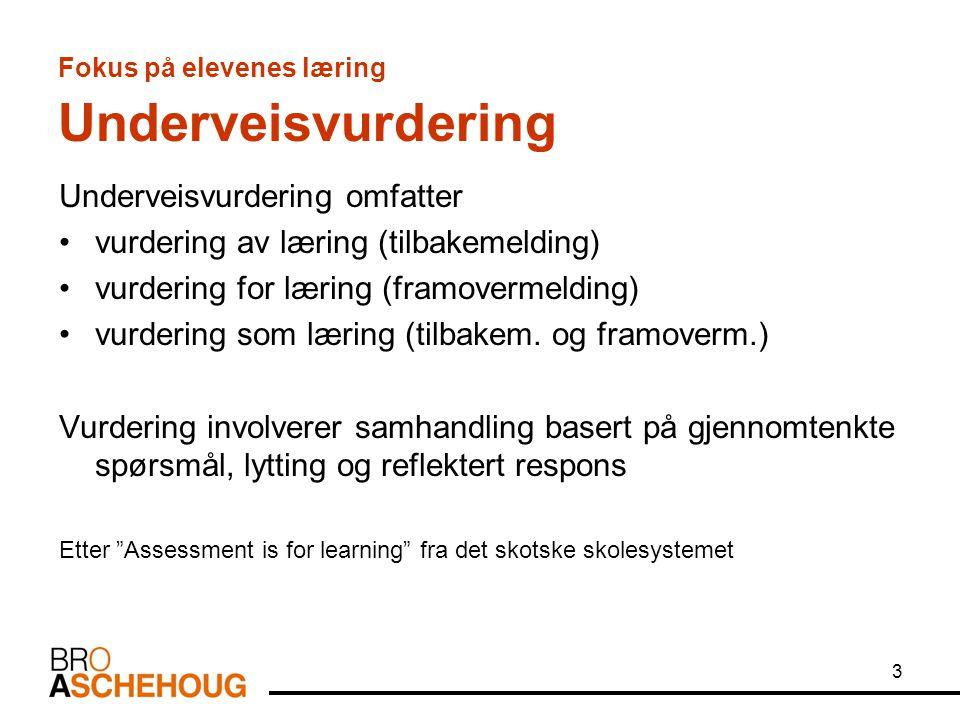 Fokus på elevenes læring Underveisvurdering