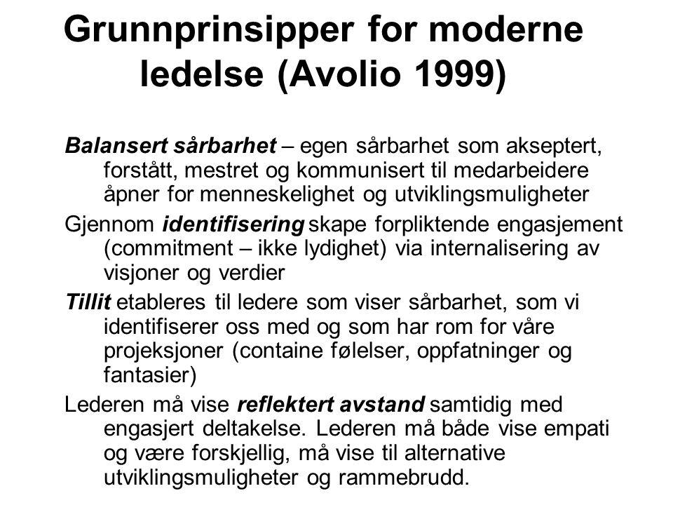 Grunnprinsipper for moderne ledelse (Avolio 1999)
