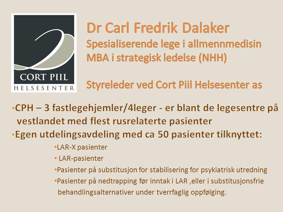 Dr Carl Fredrik Dalaker Spesialiserende lege i allmennmedisin MBA i strategisk ledelse (NHH) Styreleder ved Cort Piil Helsesenter as