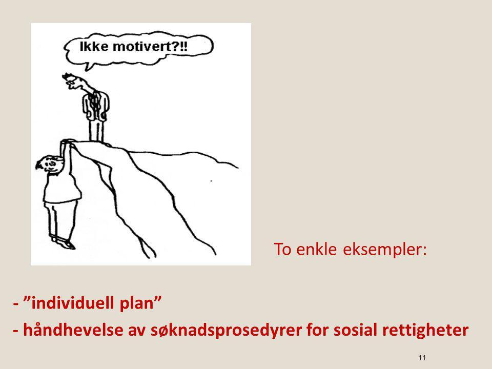 To enkle eksempler: - individuell plan - håndhevelse av søknadsprosedyrer for sosial rettigheter