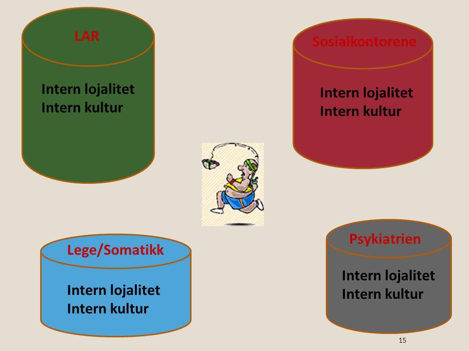 LAR Sosialkontorene. Intern lojalitet. Intern kultur. Intern lojalitet. Intern kultur. Psykiatrien.