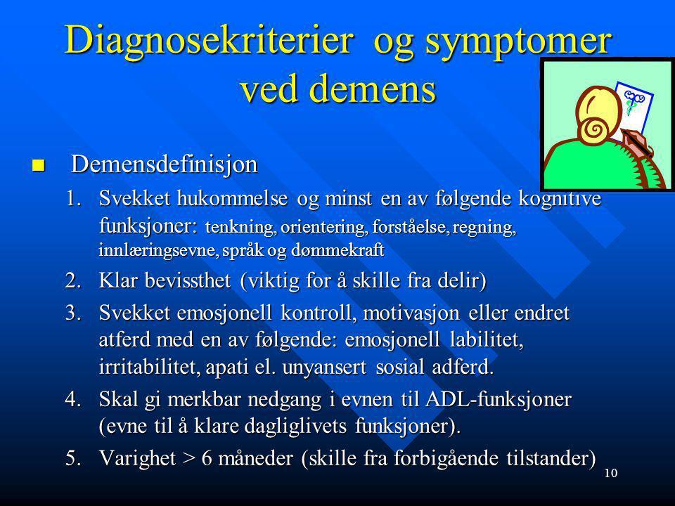 Diagnosekriterier og symptomer ved demens
