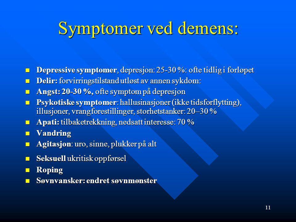 Symptomer ved demens: Depressive symptomer, depresjon: 25-30 %: ofte tidlig i forløpet. Delir: forvirringstilstand utløst av annen sykdom:
