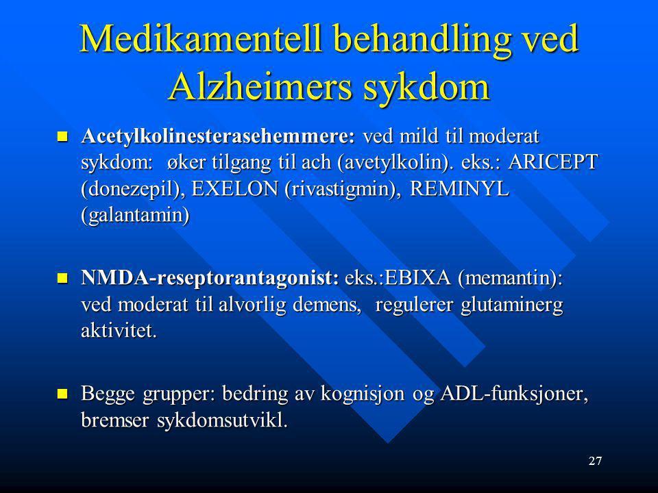 Medikamentell behandling ved Alzheimers sykdom