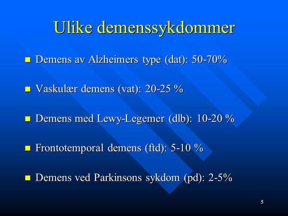 Ulike demenssykdommer