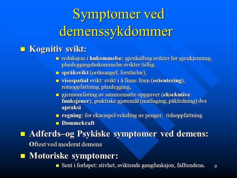 Symptomer ved demenssykdommer