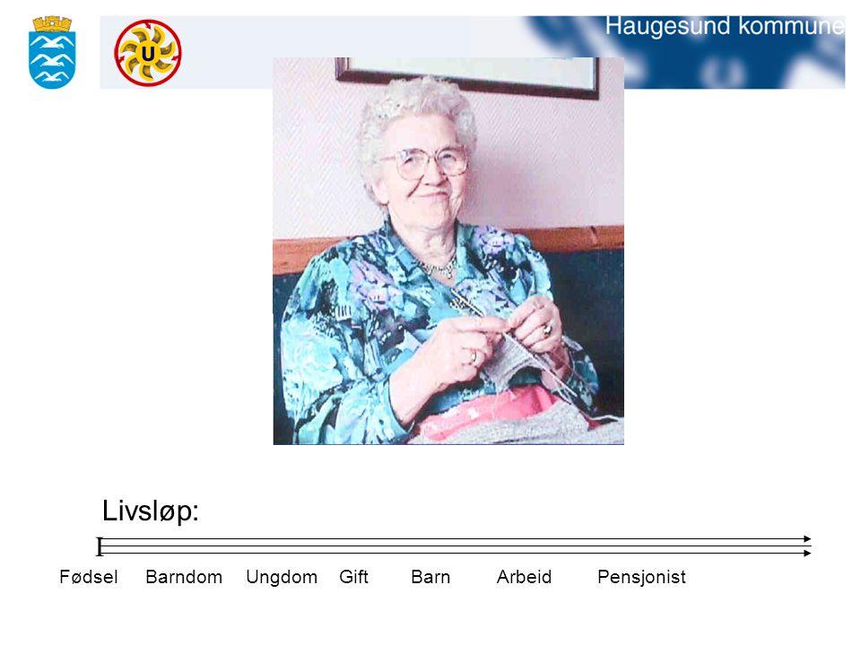Livsløp: I Fødsel Barndom Ungdom Gift Barn Arbeid Pensjonist
