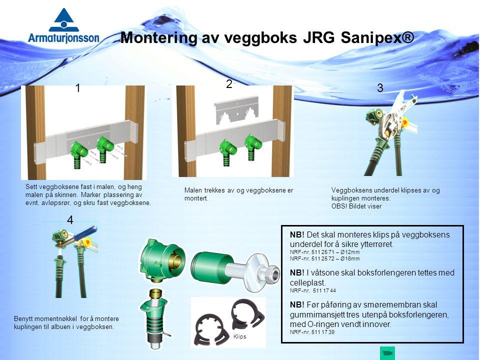 Montering av veggboks JRG Sanipex®