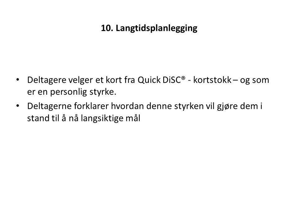 10. Langtidsplanlegging Deltagere velger et kort fra Quick DiSC® - kortstokk – og som er en personlig styrke.