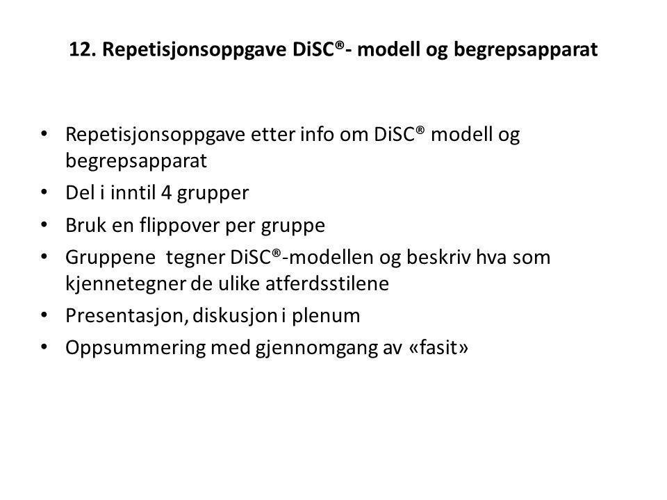 12. Repetisjonsoppgave DiSC®- modell og begrepsapparat