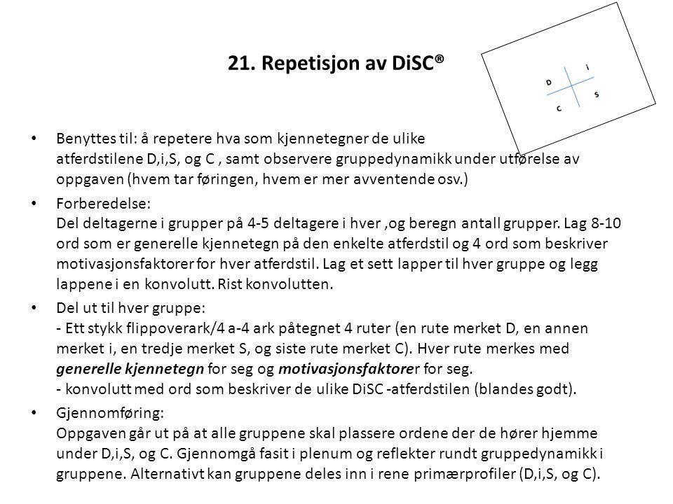 21. Repetisjon av DiSC®