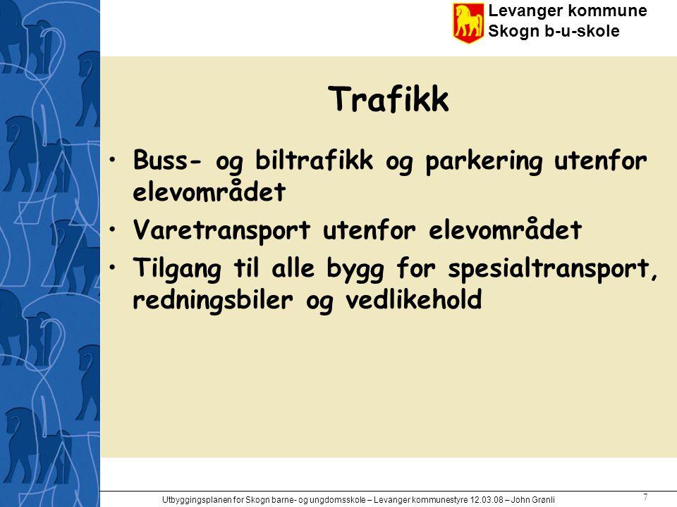 Trafikk Buss- og biltrafikk og parkering utenfor elevområdet