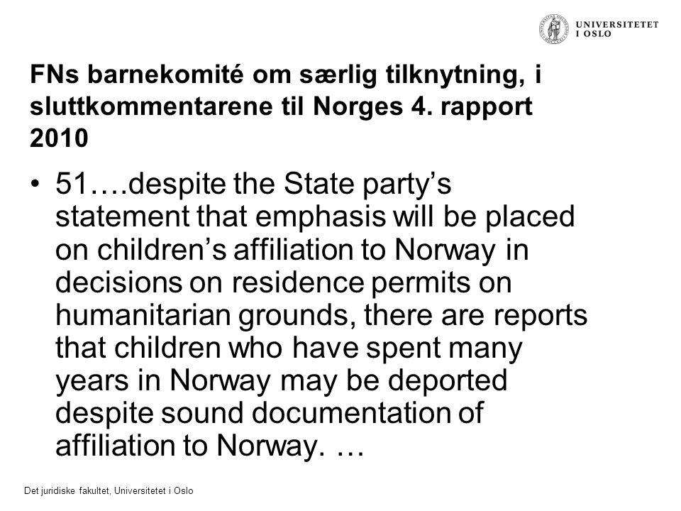 FNs barnekomité om særlig tilknytning, i sluttkommentarene til Norges 4. rapport 2010